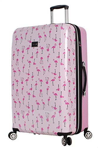 Betsey Johnson 30 Inch Checked Luggage Collection - Expandable Scratch Resistant (ABS + PC) Hardside Suitcase - Designer Lightweight Bag with 8-Rolling Spinner Wheels (Flamingo
