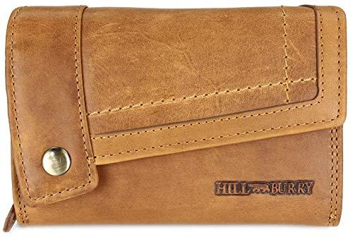 Hill Burry hochwertige Vintage Leder Damen Geldbörse Portemonnaie Dickes und kompaktes Portmonee Geldbeutel aus weichem Leder in braun - 14,5x10x5cm (B x H x T)