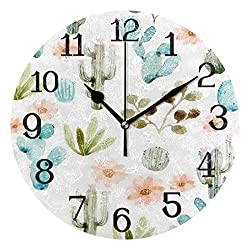 Ernest Congreve Modern Wall Clock, Cacti Art Silent Non-Ticking Quartz Battery Operated Round Circle Clock for Living Room Home Office School Wall Decor 10 inch