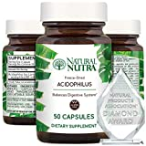 Natural Nutra Lactobacillus Acidophilus Probiotic Supplement for Women and Men for Digestion, Weight Loss, Constipation and Heartburn Relief, Freeze Dried and Shelf Stable, Gluten Free, 50 Capsules