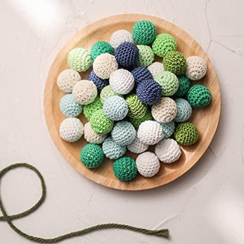 80Pcs élégant à la main 20mm crochet de perles de mélange de couleur disponible tricoté par fil de coton Bijoux DIY Making Baby Teether jouets