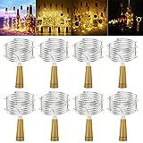 iNeego LED Botella de luz 8 piezas, botella de vino luces de hadas para dormitorio, hogar, boda, decoración de fiesta, sin batería incluida (2M, 20 LED)