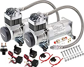 Vixen Horns Heavy Duty Dual Onboard Air Compressors 200 PSI. Universal Replacement for Truck/Car Train Horn/Suspension/Ride/Bag kit/System. Fits All 12v Vehicles Like Semi/Pickup/Jeep VXC8301DP