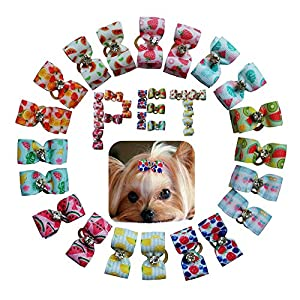 petalk 20PCs/Pack Dog Bows Puppy Topknot 2-Lays Fruit Style Small Dog Hair Bows with Rubber Bands Dog Grooming Accessories (Color 3)