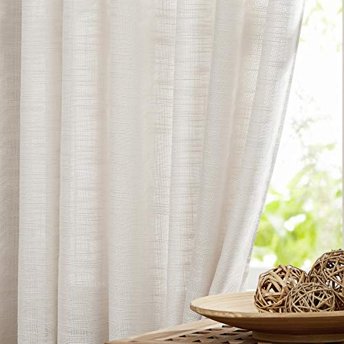 """Fmfunctex Natural Linen Textured Semi-Sheer Curtains for Living Room Office 72"""" Long Not See Through Privacy Window Curtain Set for Bedroom 52""""w x 2 Panels Grommet Top"""