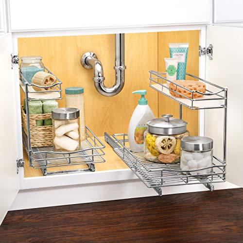 Lynk Professional Under Sink Cabinet Organizer Pull Out Two Tier Sliding Shelf, 11.5w x 18d x 14h-Inch, Chrome