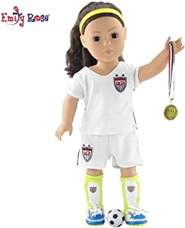 18 Inch Doll Clothes for American Girl Dolls   USA 8 Piece Doll Soccer Uniform, Including Gold Medal and Loads of Doll Accessories!   Gift Boxed!   Fits 18