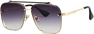 Fashion Trendy Square Aviator Gradient Sunglasses For Women Men Vintage Metal Sun Glasses