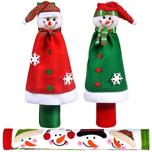 jemous Koelkast-greepafdekkingen deurgreepafdekkingen kerstdecoratie sneeuwpop koelkastgreepafdekkingen voor deur, oven, koelkast en vaatwasser