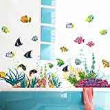 WandSticker4U- pegatinas pared decorativas: bajo el agua mundo | Efecto de: 130x42 cm | Sea Aquarium pescados | adhesivos pared para habitación de los Niños, Baño, Ventana, puerta