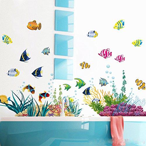 WandSticker4U®- Wandtattoo UNTERWASSERWELT bunt I Wandbilder: 130x42 cm I Bad Aufkleber Fische Sticker Korallen See Meer I Wand Deko für Kinder Kinderzimmer Badezimmer Fliesen