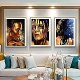 ganlanshu Negro Africano escandinavo Pintura al óleo Mujer póster y Mural sobre Lienzo,Pintura sin Marco,60X90cmx3