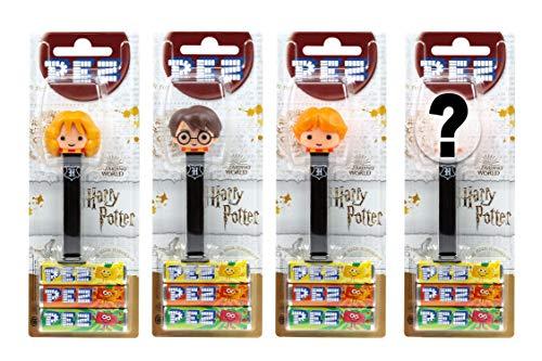PEZ Spender Set Harry Potter (4 Spender mit je 3 PEZ Bonbons á 8,5g - 1 PEZ-Figur doppelt als Überraschung) + 2 Nachfüllpacks (8 PEZ Bonbons á 8,5g)