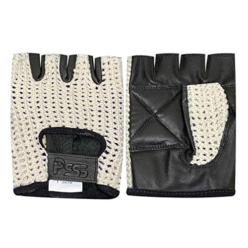 Prime Leather Guantes para Ciclismo de Cuero y Malla con Medios Dedos para Entrenamiento, Gimnasio - Antideslizante - Acrílico, Chica, H.F. Negro-Blanco