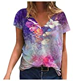 Women Hoodies Tops Tie Dye Printed Long Sleeve Drawstring Pullover Sweatshirts with Pocket Crochet Tops for Womens Black Tops for Womens Wrap Tops for Womens Sexy Tank Tops(#4-Purple,L)