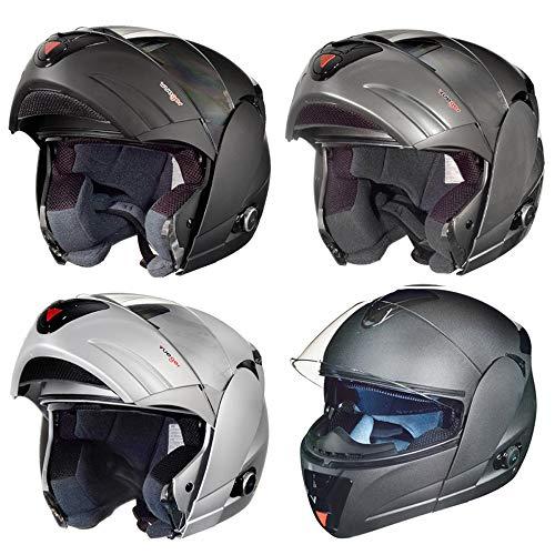 RS-980 Klapphelm Motorradhelm Bluetooth Conzept Motorrad Modular Roller Helm, Größe:XS (53-54), Farbe:Schwarz Matt