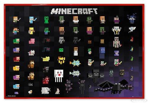 Close Up Minecraft Poster Pixel Sprites (63,5x94 cm) gerahmt in: Rahmen rot