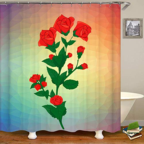 Haloxa Valentine's Day Rose Flower Branch with Buds Shower Curtain,Wat