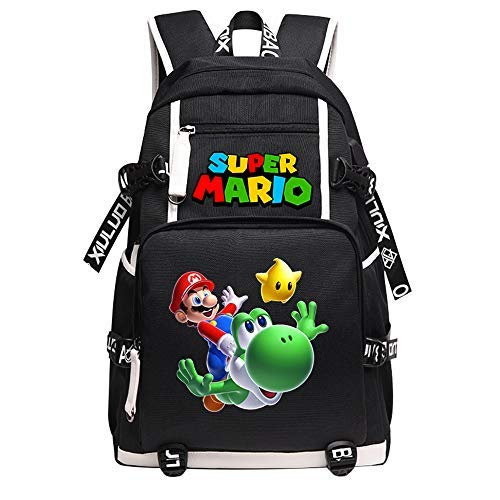 Qushy Super Mario Kid Adult Backpack School Bag Black Large Capacity Bookbag Daypack (Yoshi)