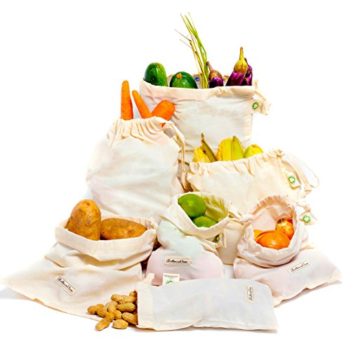 Reusable Organic Cotton Muslin Grocery Shopping Produce Bags Set of 6 (2 ea. L, M, S), Vegetable Crisper Bags - Organic Cotton Vegetable Bags - Muslin Cotton Produce Bags - Cloth Bag with Drawstring
