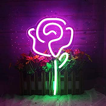 Rose Flower Neon Signs for Bedroom Wall Decor Led Lights Wall Sign for Wall Art,Home Accessories Party and Holiday Decor Valentines Day USB Powered