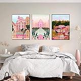 SNGTOW Italia Positano Pisa Lisboa Barcelons Building Poster Pink Moscow Print Lienzo Arte de la Pared Pintura Nordic Travel Decoración Imagen | 40x60cmx3 Sin Marco