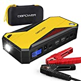 DBPOWER 800A Peak 18000mAh Portable Car Jump Starter (up to 7.2L Gas, 5.5L Diesel Engine) Battery Booster Phone Charger with Smart Charging Port, Compass, LCD Screen and LED Light (Black/Yellow)
