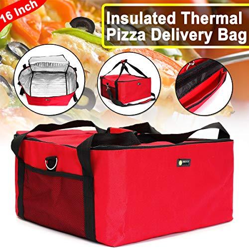 Janolia Pizza Bag, Groß Oxford-Tuch Food Delivery Bag, Kann 16-Zoll-Pizza halten, Einfach zu säubern, heiße und kalte Isolierung,42 * 42 * 23cm