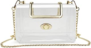 S SUNINESS Clear Purse Stadium Bag - Women Ladies Transparent Crossbody Handbags with Removable Long Chain
