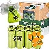 Bolsas de caca de perro orgánicas con dispensador Bolsas de caca de perro compostables con dispensador 100% biodegradables con correa (120 bolsas: 8 rollos + 1 dispensador)