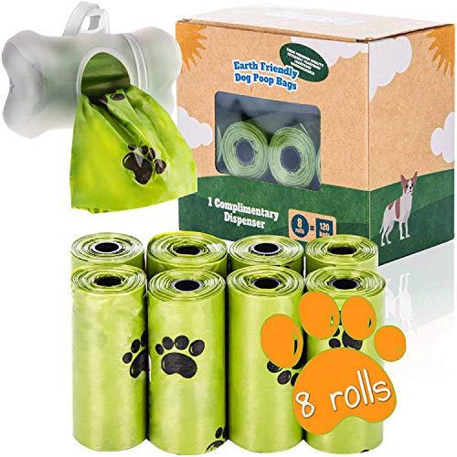 BI0 Hundekotbeutel mit Spender Kompostierbare Kotbeutel für Hunde mit Hundekotbeutelspender 100 % Biologisch abbaubare Hundebeutel mit Leinen Halter (120 Beutel: 8 Rollen + 1 Spender)