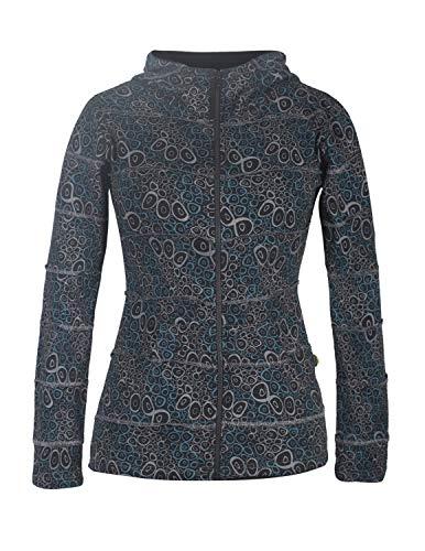 Vishes - Alternative Bekleidung - Bedruckte Damen Patchwork Hoodie Jacke Baumwolle Zipfelkapuze schwarz 44-46