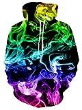 RAISEVERN Unisex: Realistischer 3D-Druck Galaxy Pullover Hoodie Lustiges Katzenmuster mit Kapuze Sweatshirts Taschen für Teenager-Pullover S Colorful Watercolor