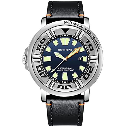 RORIOS Hombre Relojes Impermeable Cuarzo analógico Reloj con Correa en Cuero Relojes de Pulsera Calendario Moda Deportivos Reloj para Hombre Azul