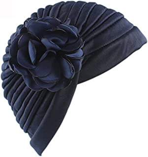 Fashian Lady Flower Elastic Fabric Muslim Turban Pleated Head Wrap Scarf Bandana Hat Pre Tied Headwear Cancer Chemo Cap WJ-34 (Color : 11, Size : One Size)