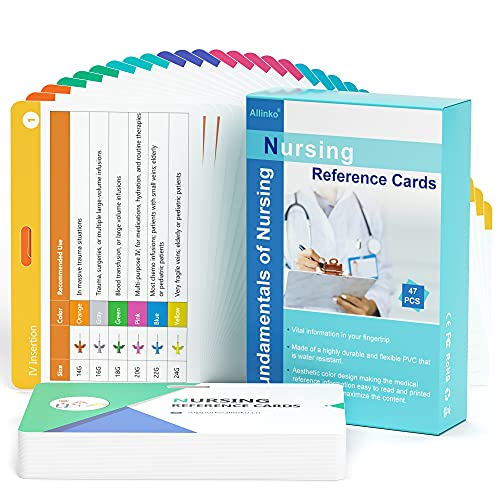 Nursing Badge Reference Cards - New 2021 Nursing Cheat Sheets, 47 Waterproof Nurse Reference Cards (Include Pharmacology, Respiratory, EKG, OB/L&D, Pediatrics, Endocrine, Neurology etc)