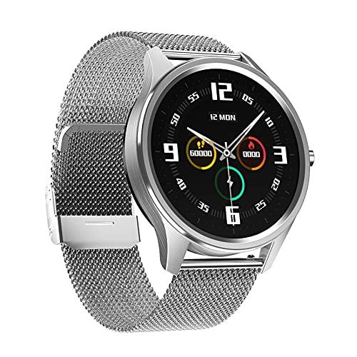 QFSLR Relojes Inteligentes Smartwatch IP67 con Monitor De Frecuencia Cardíaca Onitor De Presión Arterial Monitoreo De Oxígeno En Sangre Seguimiento del Sueño Mujer Hombre,Plata,L