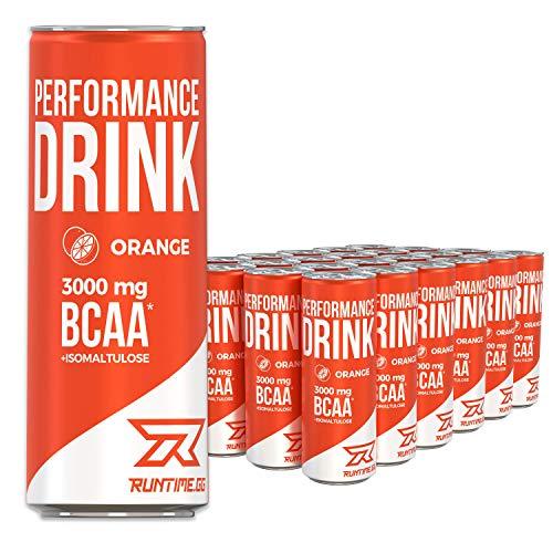 Runtime BCAA Energy Drink - Orange - volle Power, Energie und Fokus für Arbeit, Sport, Studium und Gaming, mit Koffein und Grüner Tee Extrakt, 24 x 250 ml Dosen