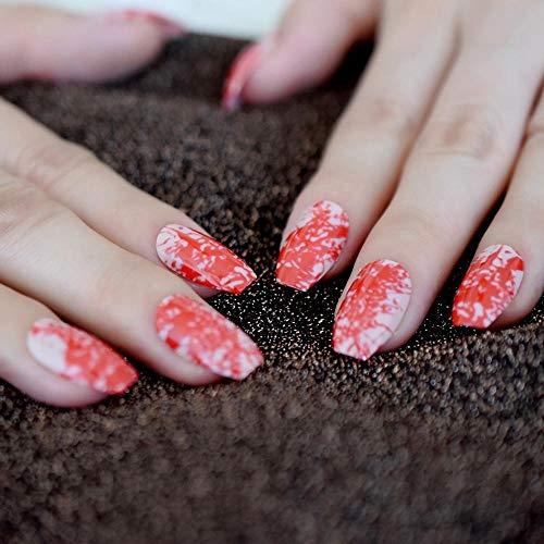 TJJF Silhouette sang motif conçu cercueil moyen rose ongles Grove ballerine Art Nail Party Lady ongles polonais