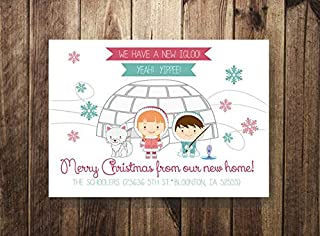 ShoppeCo We Moved New Home Christmas Card New Home Update Family Update Letter Holiday Card Christmas Card Igloo Cute Eskimo Wood Pallet Design Wall Art Sign Plaque Wooden Signs