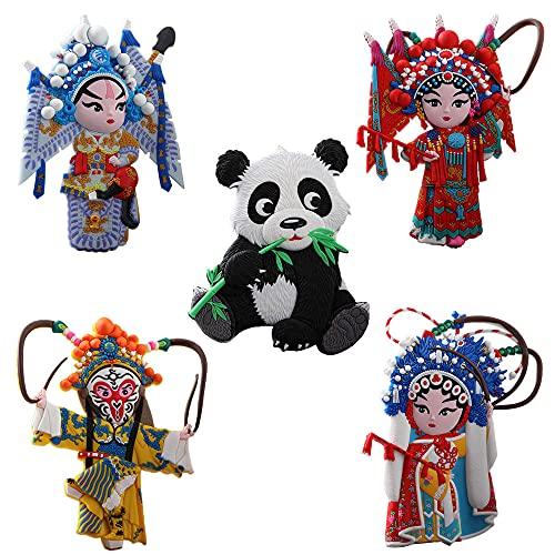 G-LIKE Drama Charakter Dekorative Kühlschrankmagnete – 5er Set Magnete Chinesische Peking Oper Figuren 3D Muster Kühlschrankaufkleber mit Geschenkbox für Kühlschrank Magnettafel etc. (Bunt)