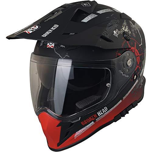 Broken Head Road Pirate Cross-Helm mit Visier | Endurohelm – MX Motocross Helm mit Sonnenblende – Quad-Helm Größe M (57-58 cm) - 2