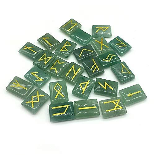 LYY Juego de Piedras de runas de aventurina Verde, Piedras Preciosas caídas con Palabras de Runa Futhark talladas para...