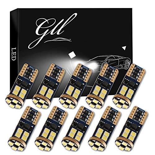 Grandview 10pcs T10 W5W LED Canbus Super Luminoso Bianca 194 168 3030 12-SMD Errore Gratuito LED Interni Auto, Cruscotto, Targa, Luci di Posizione Luci di Stivaggio (9V-16V)
