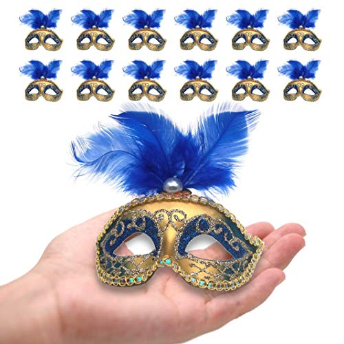 Yiseng Mini Masquerade Mask Party Decorations 12pcs Luxury Feather Pearl Mardi Gras Small Mask Blue Color