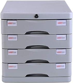 KANJJ-YU Tiroir de bureau Sorter 4 couches, avec des informations Serrure de tiroir en plastique Bureau A4 Stockage Blanc...