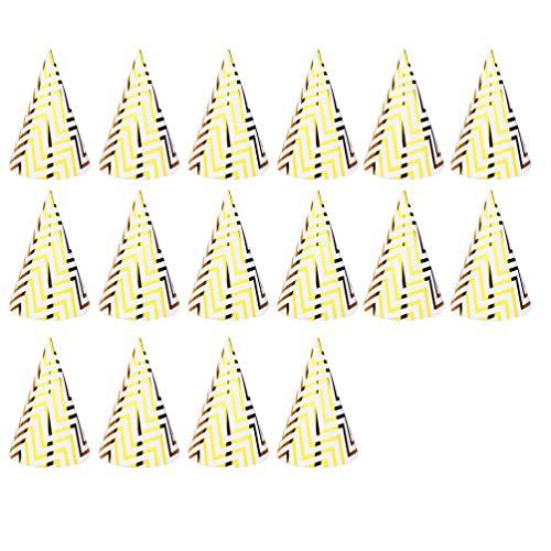 NUOBESTY 16 Stücke Gold Geburtstagshüte Weihnachtsmütze Partyhütchen Partyhüte Kopfschmuck Kopfbedeckung für Baby Kinder Geburtstag Party Kegel Hüte