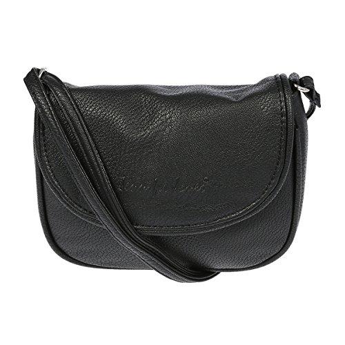 Christian Wippermann Kleine Damen Handtasche Schultertasche Umhängetasche 18 x 14 x 3,5 cm Schwarz