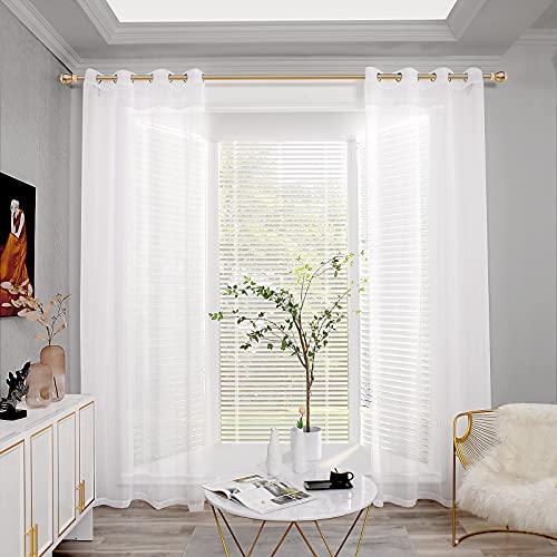 Joywell Gardinen Gardinenschals Wohnzimmer Stores Gardine Voile Vorhänge Schlafzimmer halbtransparent kurz Gardine...