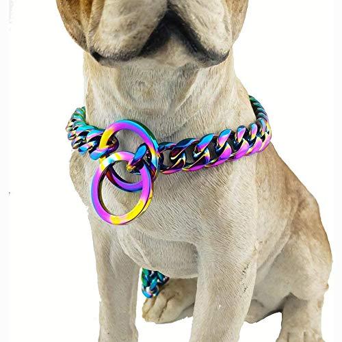 Collar de perro de cadena chapado en colores cubanos para perros grandes - 15 mm Extra ancho, eslabones metálicos de acero fuerte para razas grandes - Rottweiler, Pitbull, Mastiff, Doberman,20